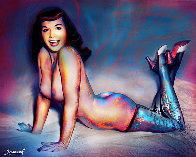BettiePage-Pinup-BlueRed-20x16