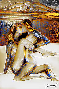 Lesbi couple in the royal bed - canvas print for black friday 2017