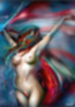 Erotic digital painting of a naked woman raising her arms