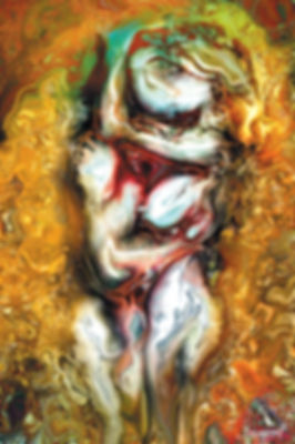 Golden abstract-figurative nude art of a couple hugging, Erotic art by Samarel
