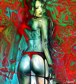 Psychedelic-whip-lady erotic art print