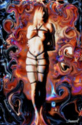 Girl in bondage naked painted by Samarel