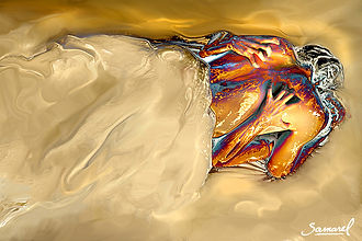 Lust-between-sheets-erotic couple in bed, canvas print in beige tones.