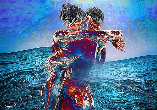 Couple hug in deep waves erotic print