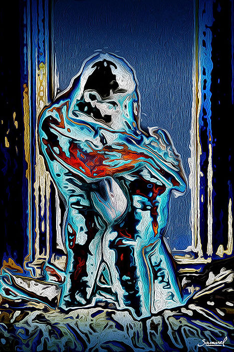 Man behind woman in bed, hugging her in deep passion - erotic art by Samarel
