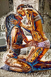 Erotic black friday lesbian art couple kissing in bed