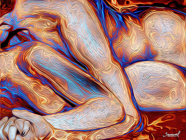 Sensual erotic-abstract painting of a couple in the spoon position. Art erotica by Samarel