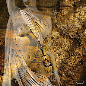 Ophelya - sensual fine art nude print naked woman collage art