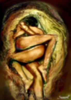 Golden hug of two women, swirl of extasy - erotic art print.