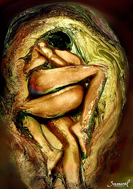 Golden hug of two women, swirl of extasy - erotic art print.