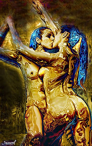 Lesbian erotic couple standing and kissing black friday deals on canvas prints