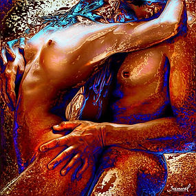 Sensual-Hug. Erotic naked couple sensual art