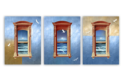 Art for office - 3 windows designed in warm blue colors, to fit office walls