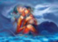 Two girl in deep sea waves, painted by Samarel erotic art