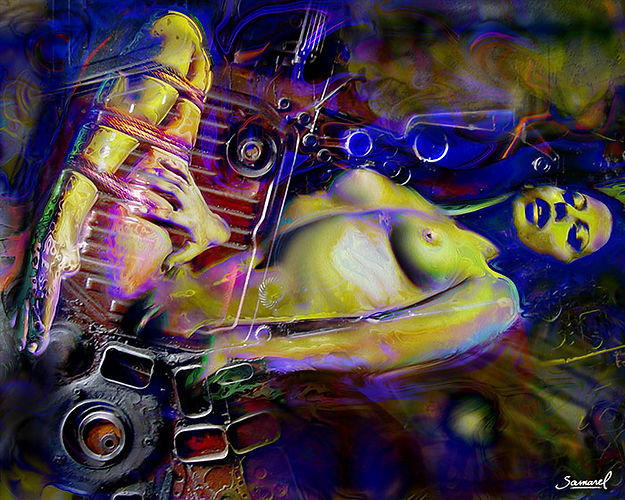 Naked woman laying collage with engine