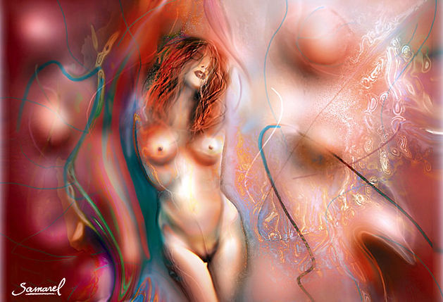 Drawing of a naked girl dancing in a fantasy collage