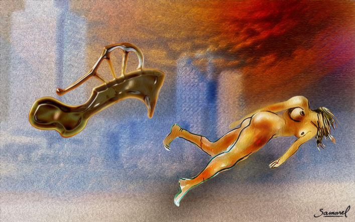 Erotic fantasy collage, naked girl flying