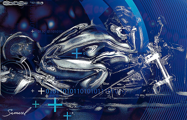 Digital fantasy painting of a woman riding a motorcycle - by Samarel erotic art