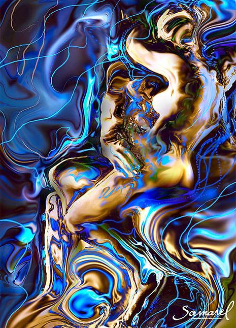 Couple hug drawing, erotic style