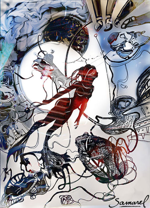 Flying girl in a fantasy drawing by Samarel