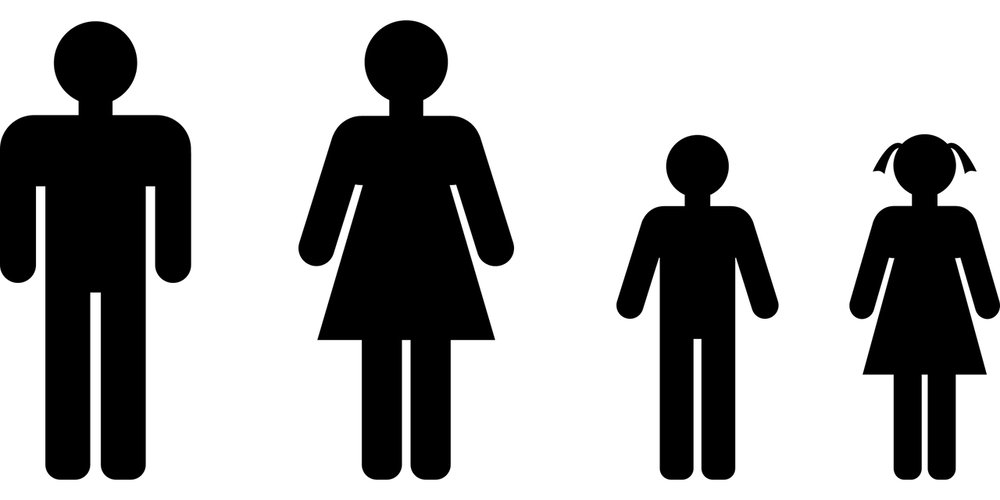 basic outline symbols of male female child boy and girl