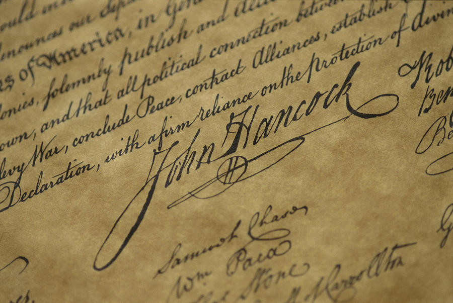 john Q hancock's signature on the declaration of independence