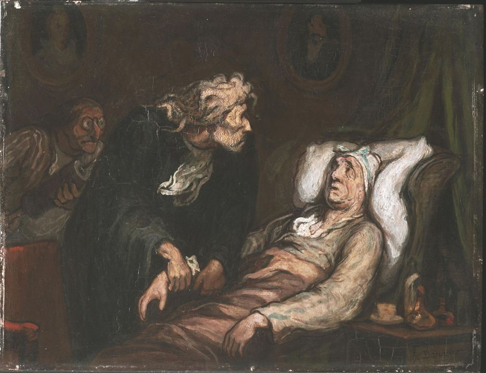 portrait of an ailing man being treated in bed