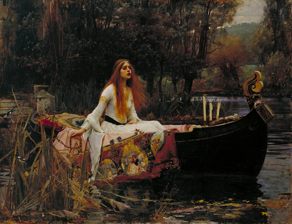painting of waterson's redheaded The Lady of Shalott