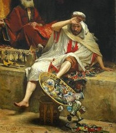 Alnaschar knocks over his glassware in the market place