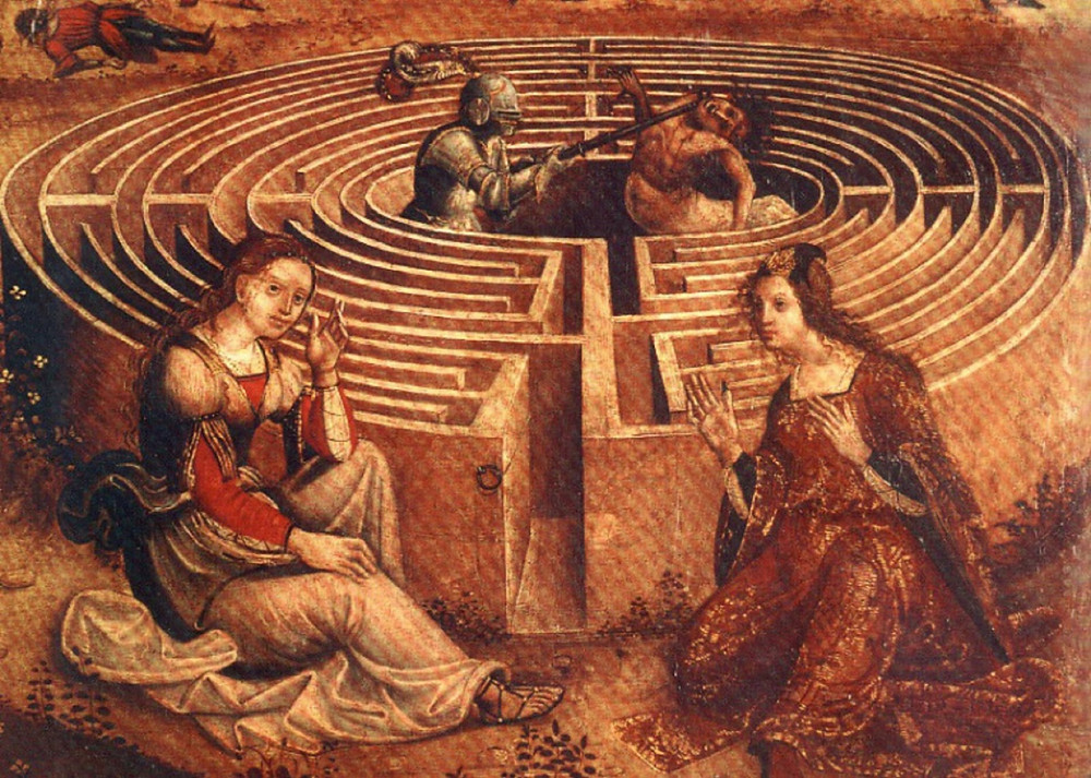 painting of ariadne perseus and the minotaur in the cretan king minos labyrinth