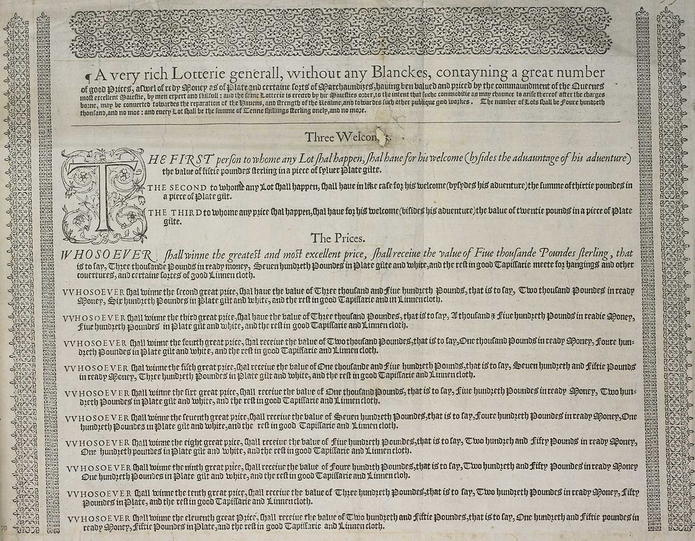 proclamation introducing queen elizabeth i's lottery