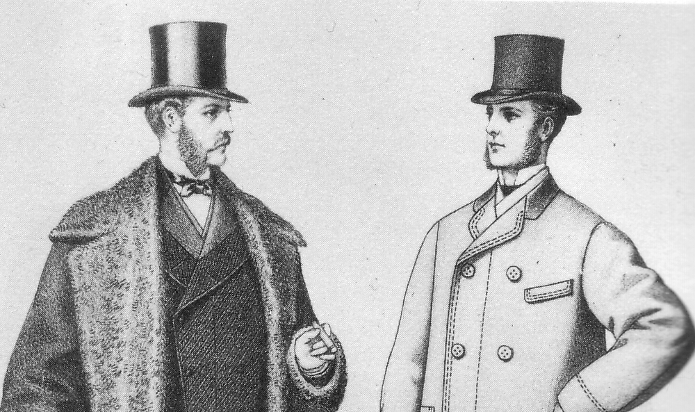 two edwardian or victorian style gentlemen in top hats