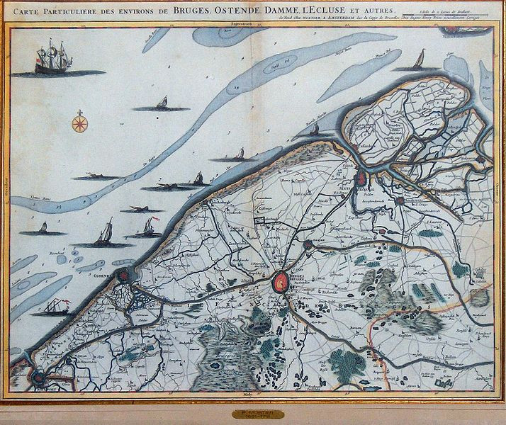 An old map of Ostend and Bruges in Belgium depicting the siege