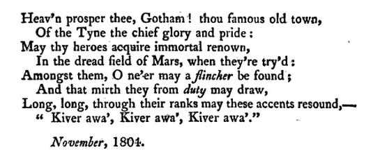 Gotham on the Tyne, kiver awa ballad 1804