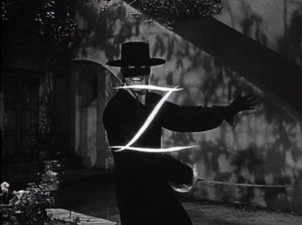 still from zorro showing him cutting an illuminated Z sign with his sword