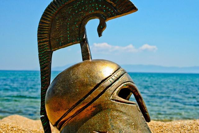 Spartan helmet, as in the story of the Spartan boy