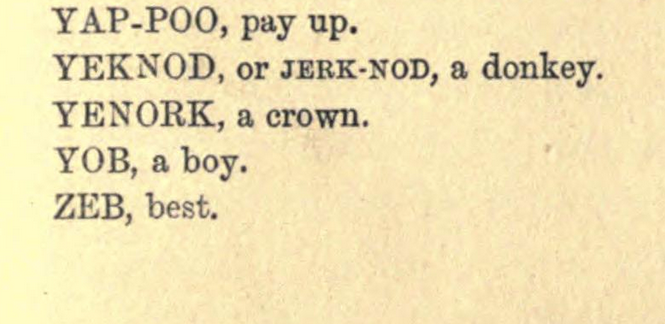 collection of victorian back slang from hotton's dictionary