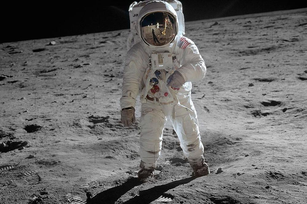 Apollo 11 astronaut on the surface of the moon 1969