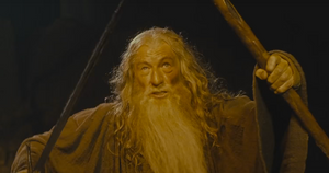 ian mckellen as gandalf fighting the balrog in the lord of the rings fellowship of the ring