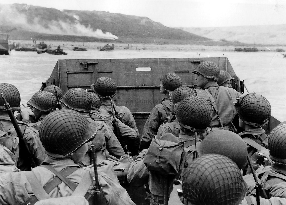 photograph from the landing boats of d-day normandy landings
