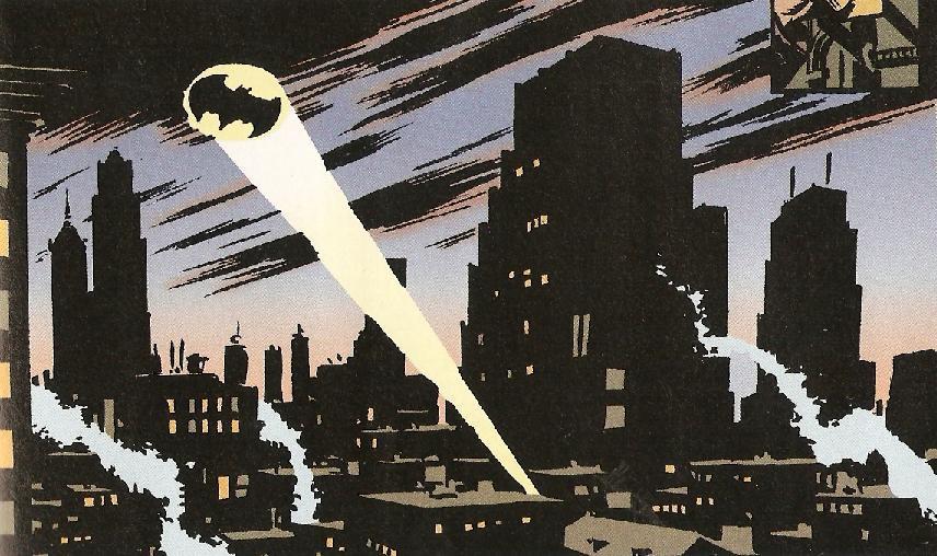 comic book illustration of batman's bat signal shining over gotham city