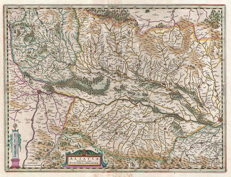 ancient map of alsatia or alsace