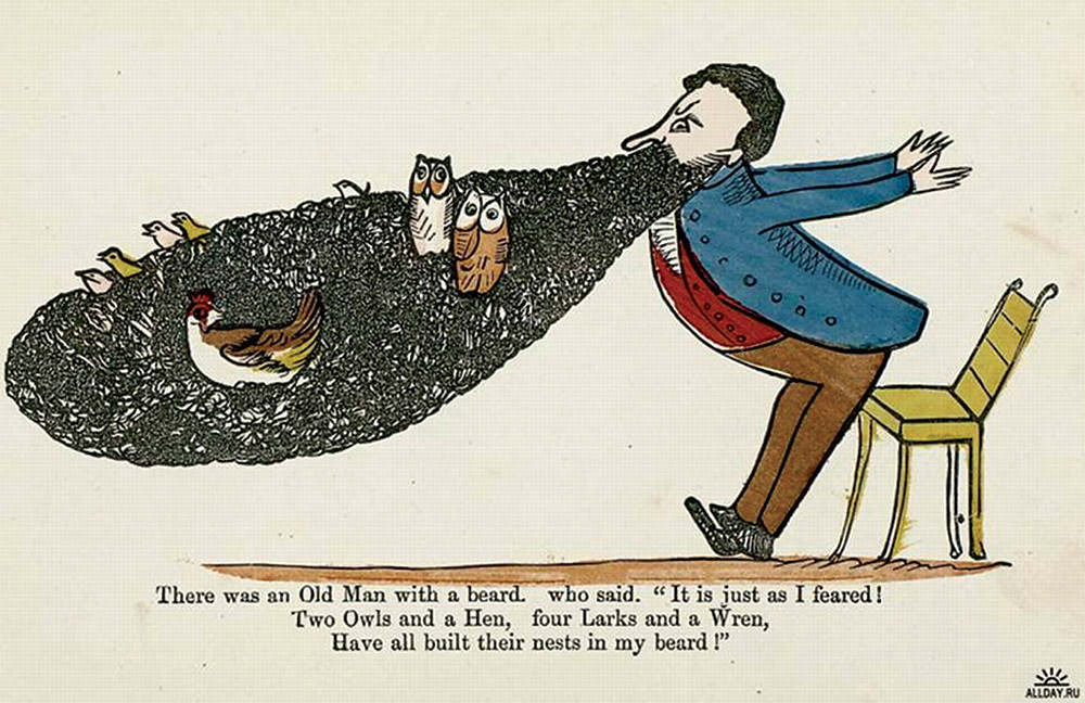 illustration of edward lear's old man with a beard limerick