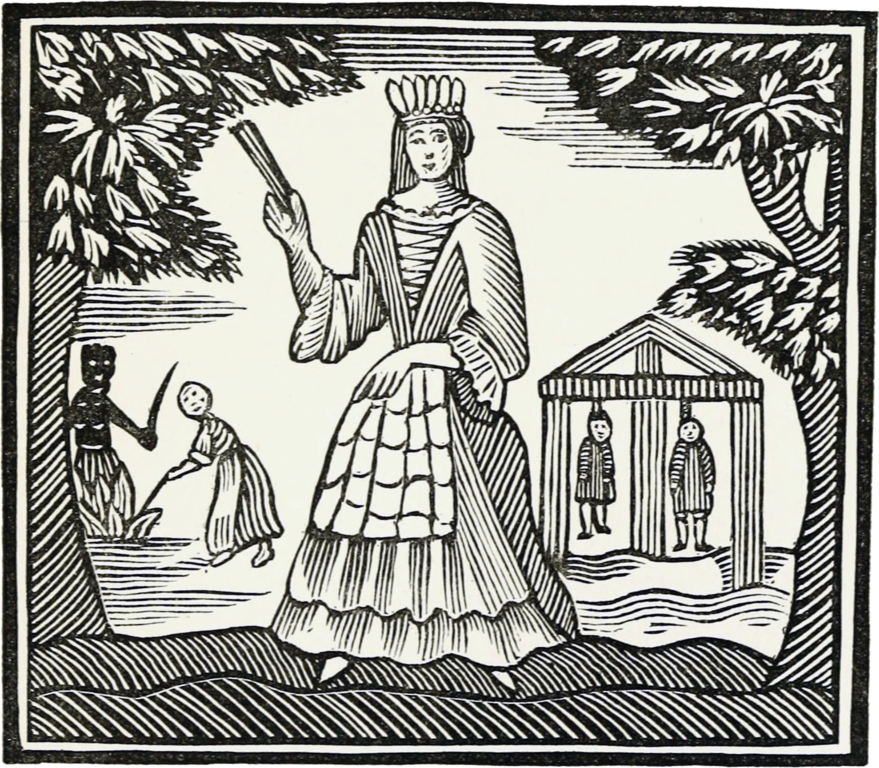 An old etching of a woman holding a fan