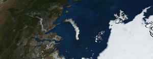 nasa satellite image of Novaya Zemlya in siberia northern russia arctic