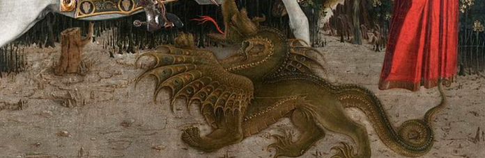 painting of old snap the dragon slain by st george