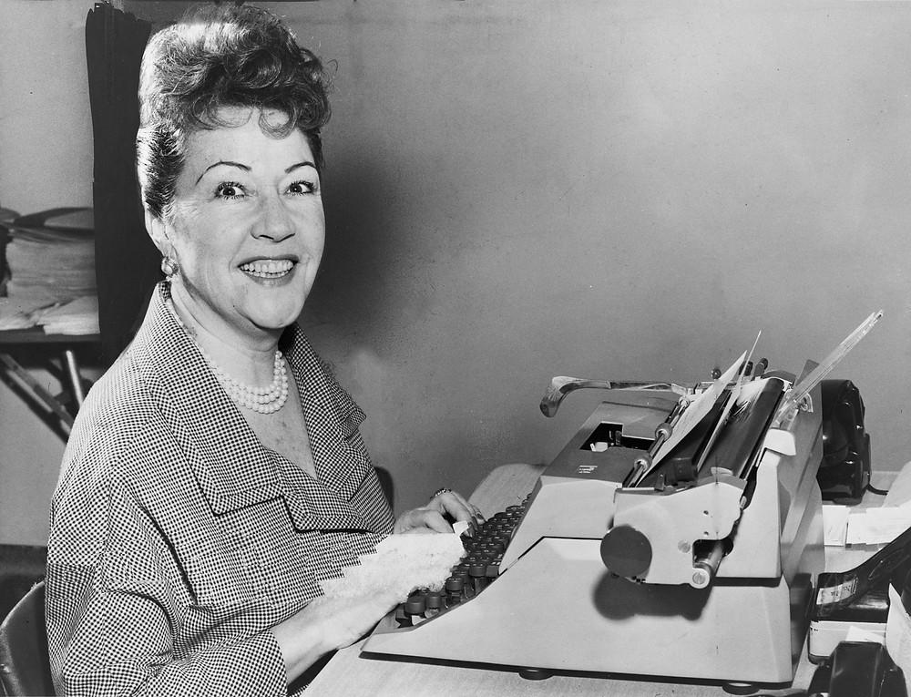 Ethel Merman at her typewriter