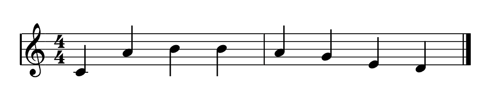 the word cabbaged written using musical notes