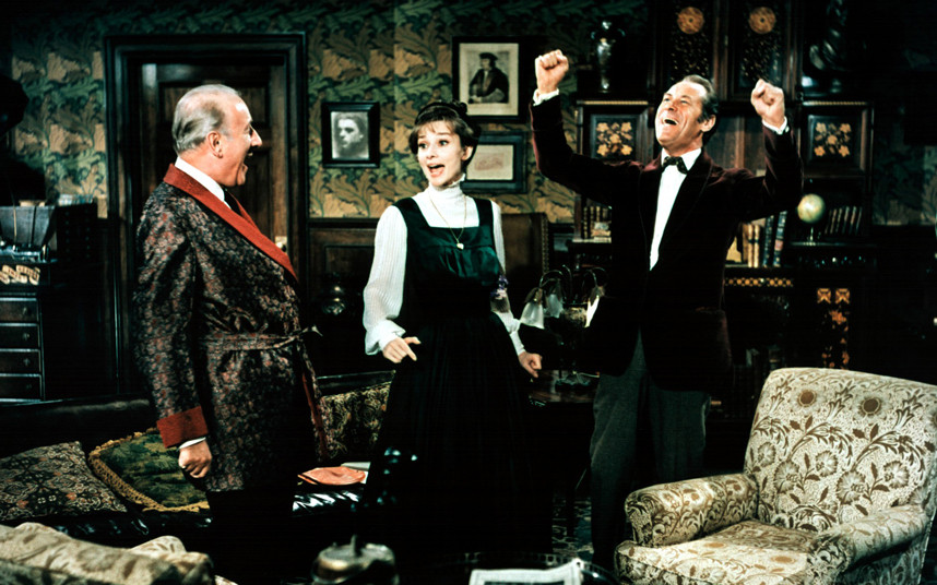 Audrey Hepburn as Eliza Doolittle and Rex Harrison as Higgins in Pygmalion
