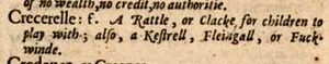 definition of crecerelle randall cotgrave's dictionarie